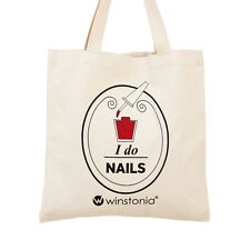 Winstonia 100% Cotton Canvas Shopping Tote Bag Reusable Eco Chic Nail Heavy Duty