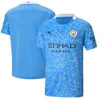 Puma Kids Manchester City Football Soccer Home Shirt Crew Neck 2020-21