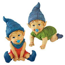 Set of 2: Adorable Baby Toddler Blue Pointed Hat & Booties Garden Gnome Statues