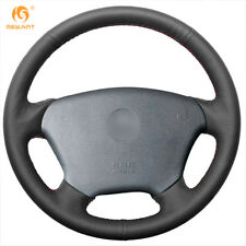 Black Genuine Leather Steering Wheel Cover Wrap for Mercedes-Benz W163 M-Class