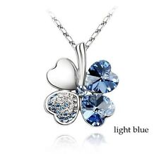 Clover Necklace Four Leaf Crystal Light Blue Pendant White Gold Plated