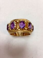 Unique Ring 14K Solid Gold Ring With Lavender Stones In Excelent Condition