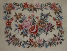 "Vintage Rose Floral Needlepoint Canvas 23""x20"""
