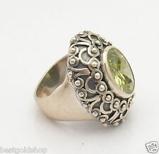 Size 7 Oxidized Oval Peridot Gemstone Ring Real 925 Sterling Silver 17.8gr