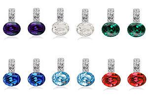 Women Lady Shiny Queen Design Crystal Round Stone Stud Drop elegant Earrings