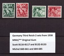 U0233) GERMANY REICH 2 sets from 1938 Mi 660-661 and 684-685 MNH **