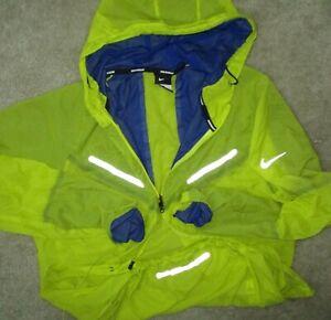Nike Mens L Featherweight Reflective 100% Nylon Full Zip Running Hoodie Jacket