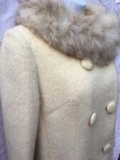 Vintage Coat Lilli Ann Juniors Tisse a Paris Mohair Fox Fur Trim Beige S 1960s