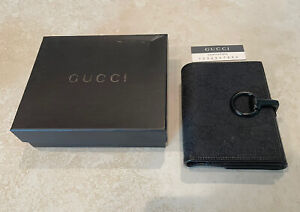 Genuine GUCCI signature Logo Fabric & Leather Wallet