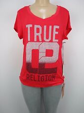 NWT True Religion 02 LINED ROUNDED  V Neck SS Tee, RED HOT, Sz L, Retail $75