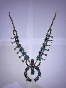 Sterling Silver Native American Squash Blossom Necklace