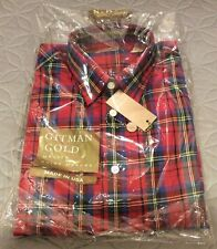 Brand New Gitman Gold Button Down Plaid Red Shirt - Size 15 Sleeves 35
