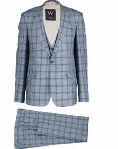 William Hunt/Savile Row thick threaded men's 3 piece suit, split-cuff leg
