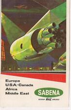 Sabena Belgian World Airlines Europe USA Canada Africa Mid East Luggage Sticker