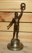 1949 Hungarian hand made bronze statuette athlete holding laurel wreath signed