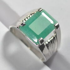 5.45 Ct Natural Green Emerald 92.5 Sterling Silver Astrological Men Ring