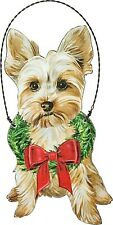 "Yorkshire Terrier Yorkie Dog 5"" Wooden Ornament With Wreath and Red Bow"