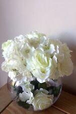 Artificial Silk Flower Arrangement Luxury Cream Roses And Hydrangea In A Vase
