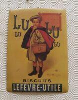 Ancienne Plaque Publicitaire Vintage Biscuits Lefèvre-Utile Lu