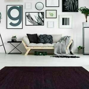 Jute Rug Natural Modern Pure Black Dye Rectangle For Home Decoration Rag 9X12 Ft