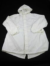 US Military Tactical Snow Camo Over White Cotton Parka Shell Jacket M Medium EUC
