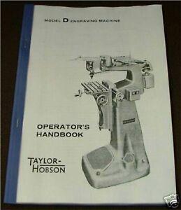 Taylor Hobson Model  'D' Engraving Machine Manual