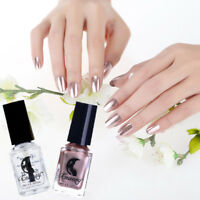 2Pcs/Set Rose Gold Magic Metallic Mirror Nail Art Polish Varnish & Base Coat 6ml