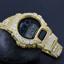 Solitaire Custom Authentic Casio G-Shock DW 6900 Yellow Gold 2 Tone Men's Watch