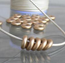 Matte Gold Donut Ring Czech Beads 9mm 25 Glass Large Hole