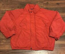 VINTAGE 90s NAUTICA RED DISTRESSED DOWN FEATHER PUFFER BOMBER JACKET COAT SZ L