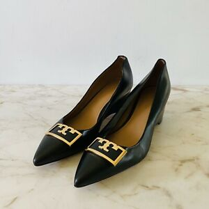 TORY BURCH Solid Black Leather Wedge Heel Pumps Gold Logo - US 7.5