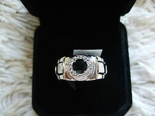 MENS BLACK SPINEL RING WITH WHITE TOPAZ IN STERLING SILVER 1.72CTS SIZE 9 R/S