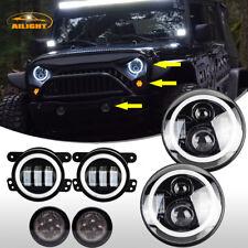 """7inch LED Headlight Halo Angel Eye + 4"""" Fog +Turn Light Kit For Jeep Wrangler JK"""