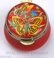 Staffordshire Enamels Old Hall Yellow Butterfly Enamel Box
