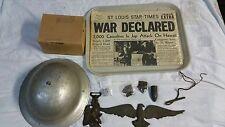 9 Piece German WW1 Military Drum Bronze Eagle Hanger 1914-1918 Medal Mask Helmet
