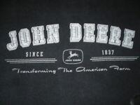 John Deere T-Shirt L Large Black Men's Farm Farmer Free Shipping Tractor