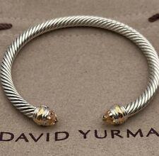 David Yurman Sterling Silver Cable Classic Bracelet - Morganite & 14K Gold 5mm
