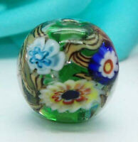 10pcs exquisite handmade Lampwork glass beads green wheel flower 16mm