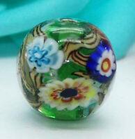 10pcs exquisite handmade Lampwork glass beads green wheel flower 16mm