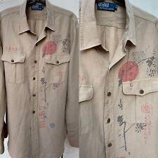Polo Ralph Lauren Safari Style Vintage Shirt In Japanese Print Sz L