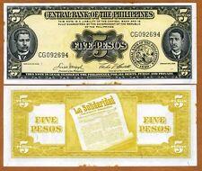 Philippines, 5 Pesos (ND) 1949, Pick 135 (135e), aUNC