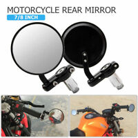 2X 7/8Inch Foldable round Motorcycle Motorbike Wing Side rear view mirror Black