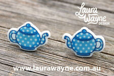 Teapot Stud Earrings - Handmade Tea Lover I Love Tea Unique Quirky Brew Bag Gift