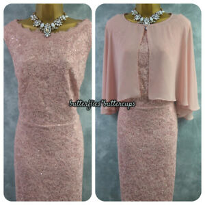 ~ NIGHTINGALES ~ Pink Lace Shimmer Dress & Cape Size 22 BNWT Mother of the Bride