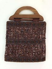 Dark Brown Hand Beaded Purse Handbag Shell Iridescent Gray Beads Wood Handles