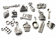16 Mix Silver Cake Baking Food Kitchen Charms Book/Spoon/Mixer/Choc/Bake/Cooking