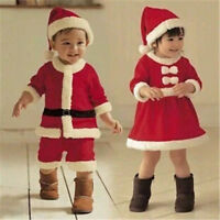 Santa Claus Costume Children Boys Girls Christmas Kids Cosplay Dress Set Outfit
