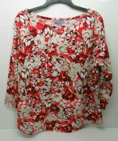 Women's Laura Scott Crepe Printed 3/4 Sleeve Top Red Poppy Size XL