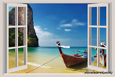 Island Beach Boats Window View Repositionable Color Wall Sticker Wall Mural 3 FT