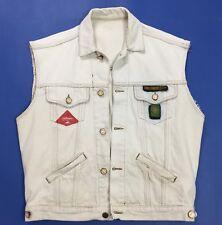 Challenger jeans smanicato L blu giubbino giacca denim usato vinta bomber T3280
